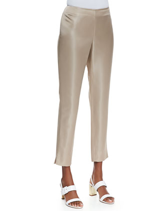 Stanton Satin Straight-Leg Pants