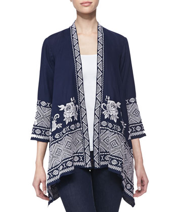 Baylee Embroidered Drape Cardigan