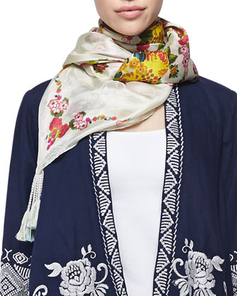 Baylee Embroidered Drape Cardigan & Sala Printed Silk Scarf