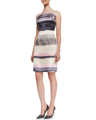 Evelyn Striped Silk Sleeveless Dress