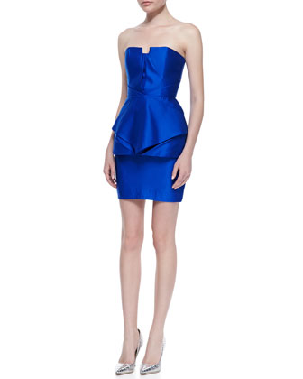Origami Satin Strapless Panel Dress