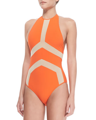 Halter-Top One-Piece Swimsuit