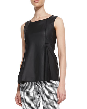 Ladyn Lambskin Sleeveless Top & Stanton Painterly Grid Ankle Pants