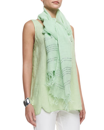 Handkerchief-Linen Long Tank Top, Ankle Pants & Sequined Stripe Linen Scarf