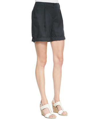 3/4-Sleeve Lightweight Linen Top & Organic Linen City Shorts