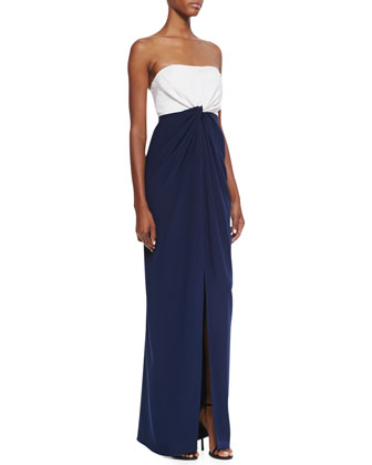 Strapless Colorblock Ruffle-Front Gown, White & Navy