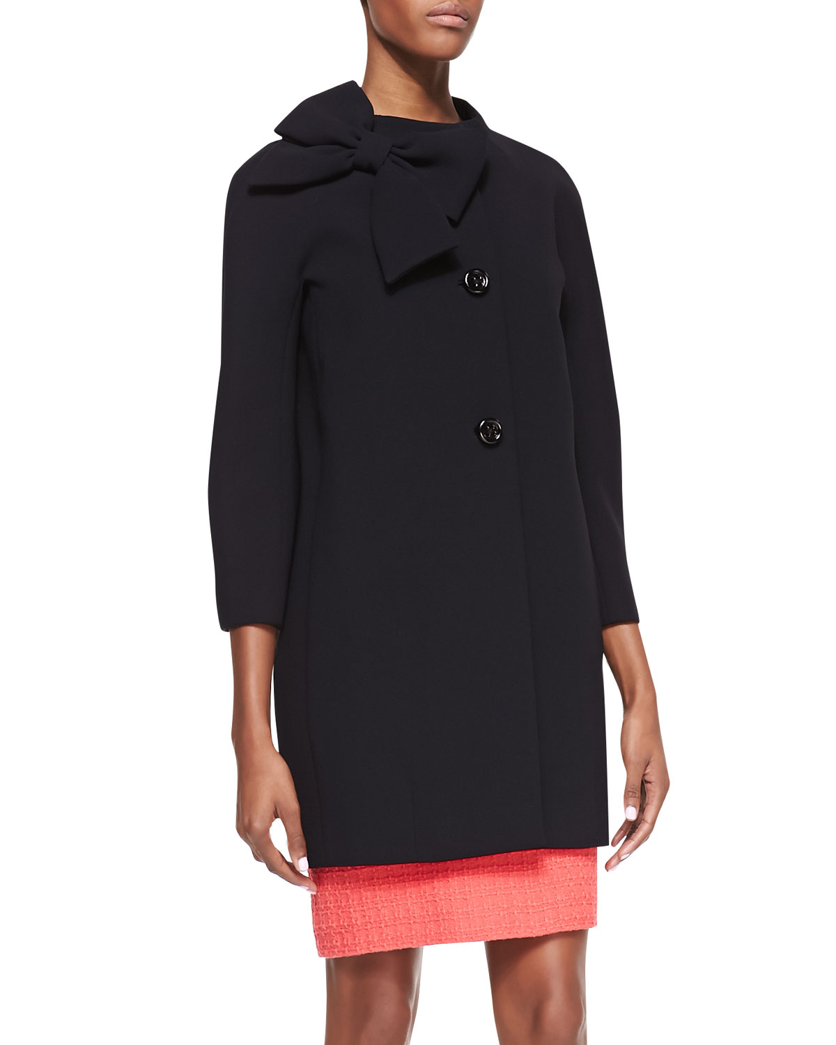Womens dorothy coat with side collar bow, black   kate spade new york