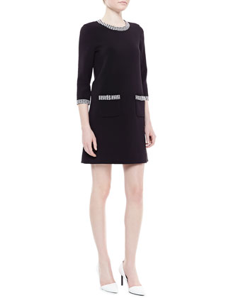 wray houndstooth-trim shift dress, black/white