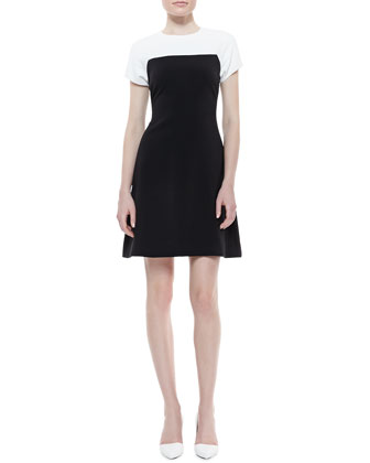 tala sleeveless colorblock dress, cream/black