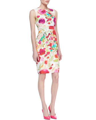 bowden sleeveless floral sheath dress, multicolor