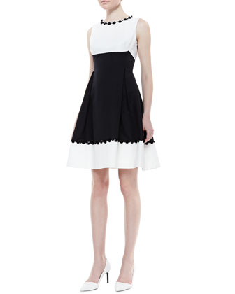 hattie contrast embellished dress, cream/black