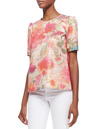 haley puff-sleeve floral-front top, multicolor