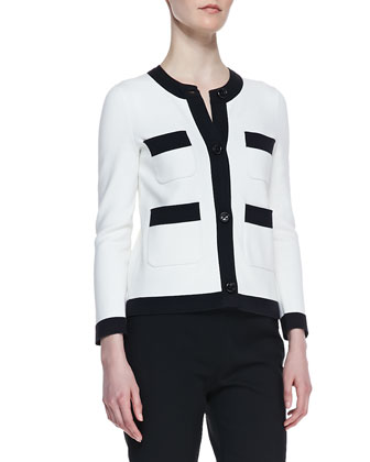 baxter contrast trim jacket, cream/black
