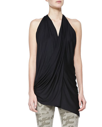 Draped Split-Back Halter Top