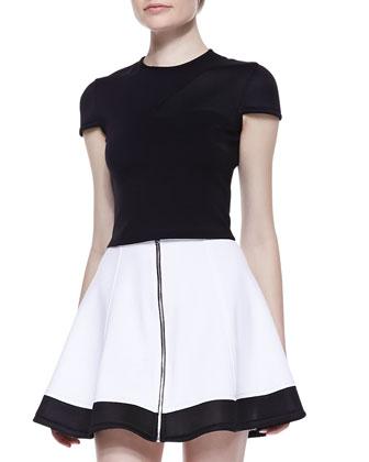 Cap-Sleeve Ponte Crop Top & Mesh-Hem Front-Zip Skirt