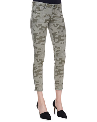 Draped Split-Back Top and Cropped Camo Skinny Jeans