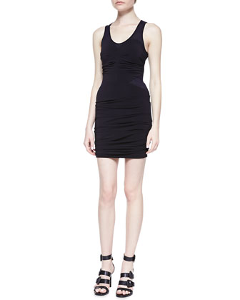 Sleeveless Ruched Fitted Jersey Dress