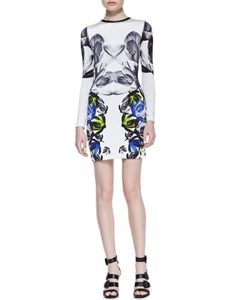 Mirrored Floral-Print Long-Sleeve Jersey Dress