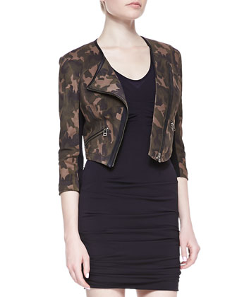 Cropped Camo Leather Jacket & Sleeveless Ruched Fitted Jersey Dress