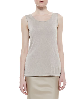 Scoop-Neck Knit Tank, Champagne