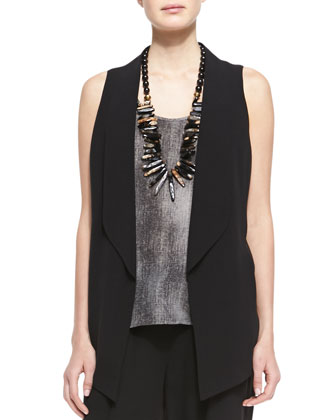 Silk Shawl-Collar Vest, Hazy Printed-Silk Shell & Silk Drawstring Cropped Pants