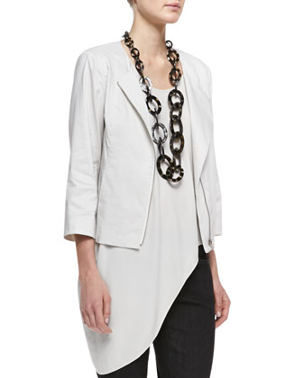 Polished Ramie A-Line Jacket , Silk Asymmetric Drape Shell & Organic Soft ...
