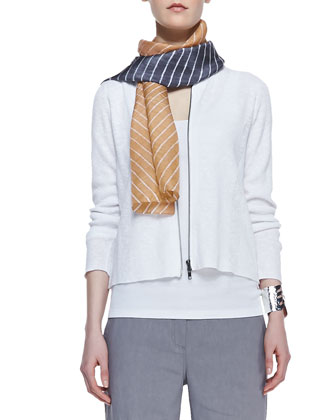 Polished Organic Zip-Front Cardigan, Slim Tank, Colorshift Shibori Scarf & ...