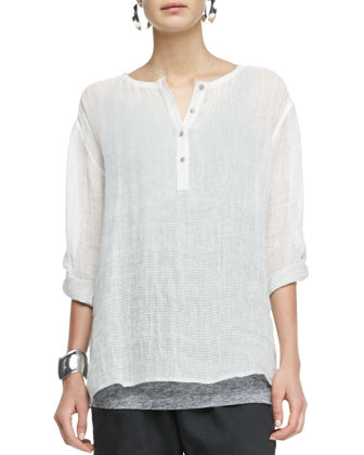 Ombre Striped Linen Henley Shirt