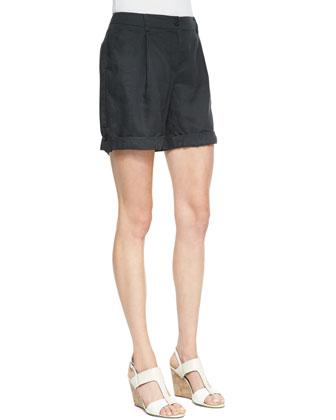 Organic Linen City Shorts, Petite, Graphite