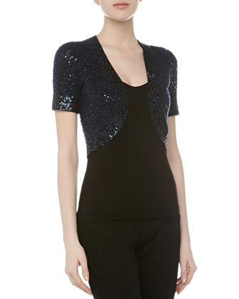 Sequined Cashmere-Silk Evening Shrug, New Navy