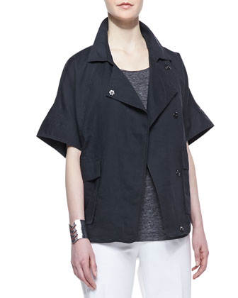 Organic Linen Short-Sleeve Jacket, Women's