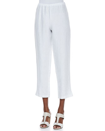 Slim Linen Ankle Pants, White