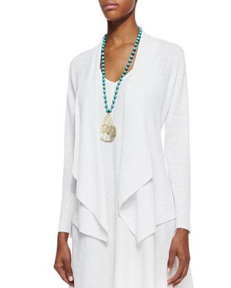 Organic-Linen Angled-Front Cardigan, Petite