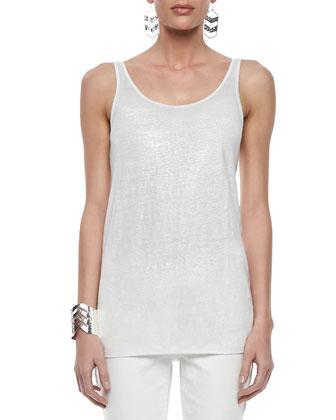 Long-Sleeve Linen Jacket, Organic Linen Jersey Shimmer Tank & Heavy Linen ...