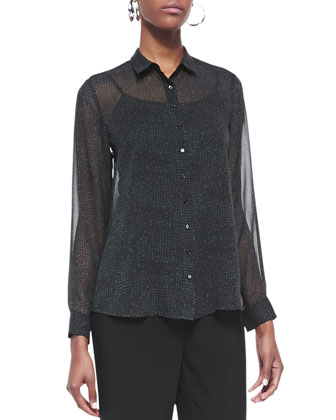 Thumbprint Long-Sleeve Silk Shirt, Petite