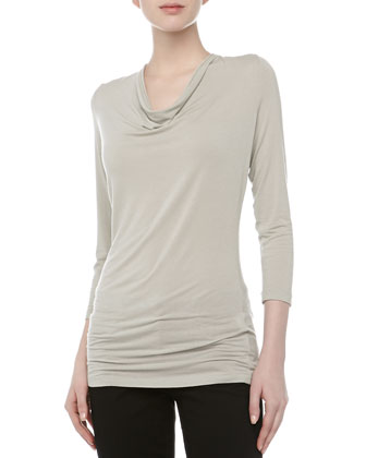 Three-Quarter-Sleeve Cowl Neck Jersey Top, Oyster, Women's