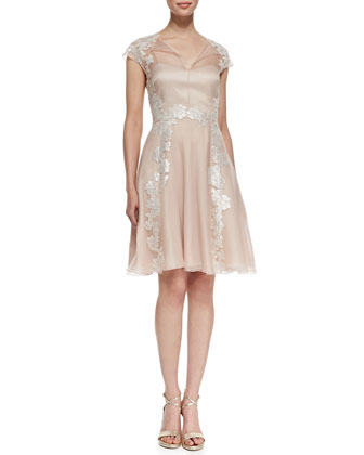 Lace Appliqu?? Shirt-Style Cocktail Dress, Blush