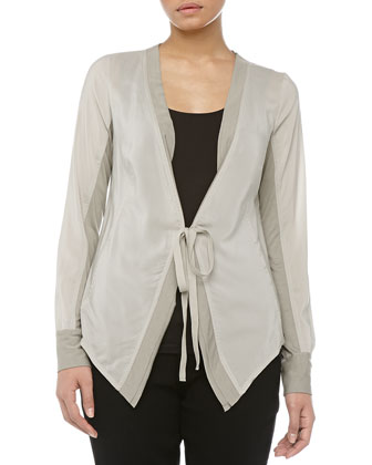 Wrap Front Crepe & Jersey Top, Oyster