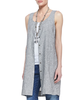 Sleeveless Striped Chambray Dress, Organic Cotton Slim Tank & Stretch ...