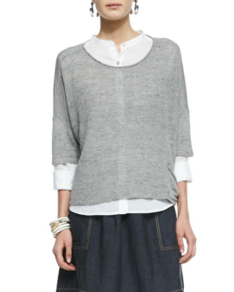 3/4-Sleeve Linen-Blend Knit Top, Pewter