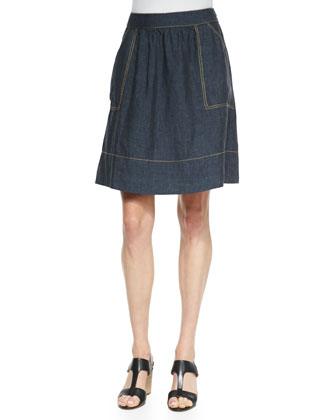 Linen Knee-Length Skirt, Denim