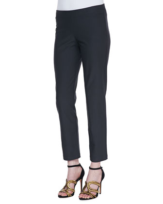 Washable Stretch-Crepe Ankle Pants, Graphite