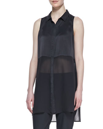 Silk Long Sleeveless Shirt & Washable Stretch-Crepe Ankle Pants, Black