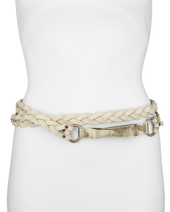 Wraparound Braided Leather Clip Belt