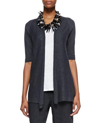 Half-Sleeve Organic Open-Front Cardigan, Petite