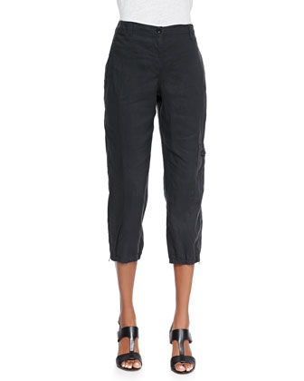 Organic Linen Cargo Ankle Pants