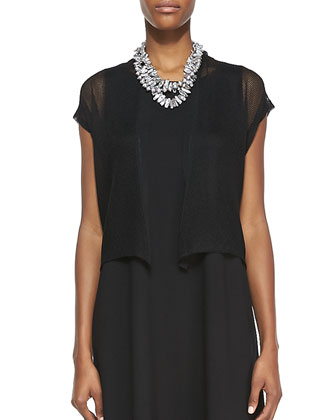 Short-Sleeve Mesh Cardigan & Sleeveless Jersey Shift Dress