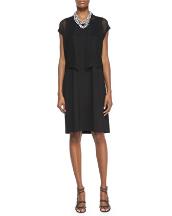Short-Sleeve Mesh Cardigan & Sleeveless Jersey Shift Dress, Women's