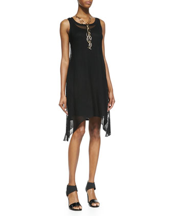 Sleeveless Crinkle Mesh Dress, Black, Petite