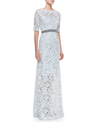 Half-Sleeve Lace Overlay Gown
